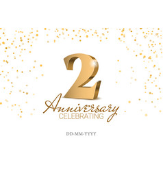 Anniversary 2 gold 3d numbers vector