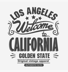 athletics typography t-shirt graphics california vector image