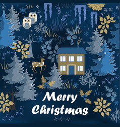 Awesome winter merry christmas card with night vector