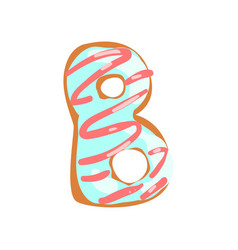 b letter in shape sweet glazed cookie vector image