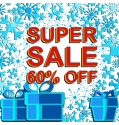 Big winter sale poster with SUPER SALE 60 PERCENT vector image