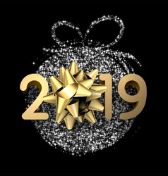 black 2019 new year card with golden bow vector image