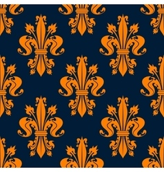 blue and orange fleur-de-lis seamless pattern vector image