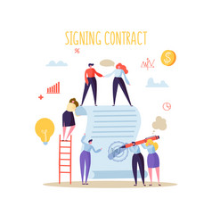 business characters signing agreement flat people vector image
