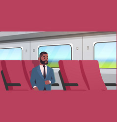 businessman traveling train african american vector image