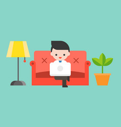 businessman using laptop on luxury sofa flat vector image