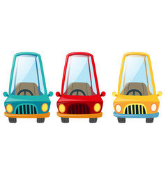 cars in three differnt colors vector image