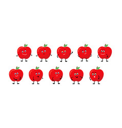 Character apple smiles rejoices is sad is angry vector