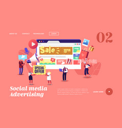 characters give ads in social networks landing vector image