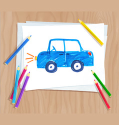 Child drawing of car vector