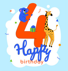 children 4th birthday greeting card vector image