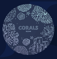 circle coral underwater concept in a line art vector image