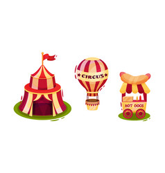 Circus attribute with striped tent hot air vector