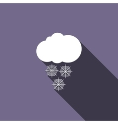 Cloud with snow icon flat style vector image