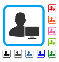 Computer administrator framed icon vector