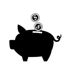Contour save coins money inside pig vector