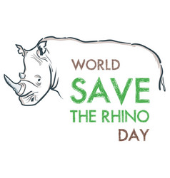 creative hand drawn concept of world rhino day vector image
