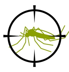 Crosshair focused mosquito symbol vector