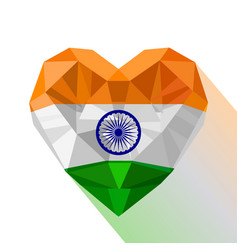 Crystal heart the flag of republic of india vector
