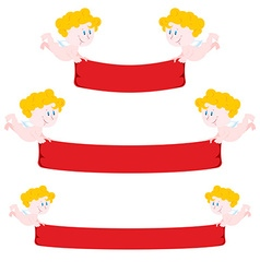 Cupid and red Ribbon Set Ribbon varying length vector