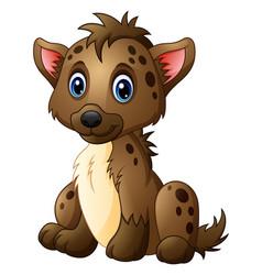 Cute baby hyena sitting vector