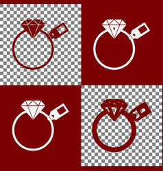 Diamond sign with tag bordo and white vector