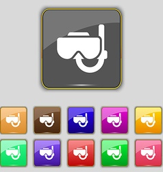 Diving mask icon sign Set with eleven colored vector image