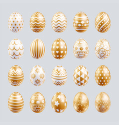 easter eggs set gold color with patterns texture vector image
