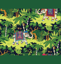 elephant jungle pattern vector image