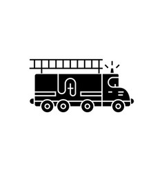 fire engine - car icon black vector image