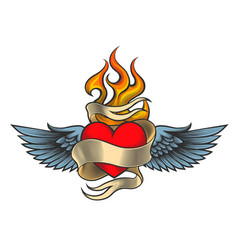 Flaming heart with wings vector