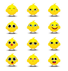 Flat emoji collection of funny chick vector