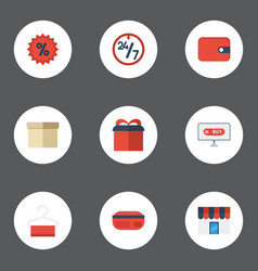 Flat icons percentage present shopping and other vector