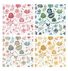 floral seamless pattern set spring summer vector image