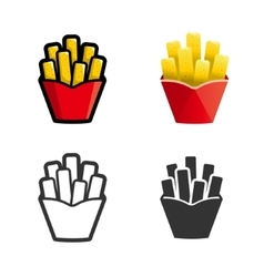 French fries colored icon set vector