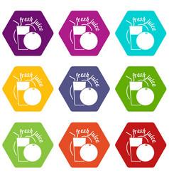 fresh juice icons set 9 vector image