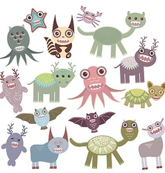 Funny monsters set Big collection on white vector image