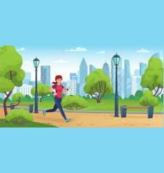 girl jogging in city park active woman run on vector image