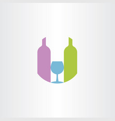 glass and wine bottle symbol logo sign icon vector image