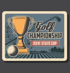 golf championship cup club and ball laurel vector image