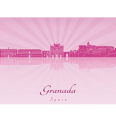 Granada skyline in purple radiant orchid vector image