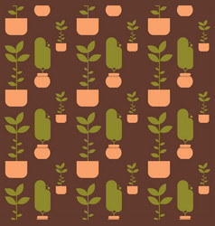 Green house plant in pot seamless pattern vector