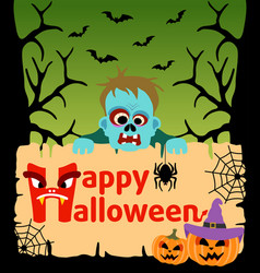halloween background card with zombie vector image