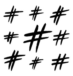 Hand drawn hashtag signs isolated on white vector