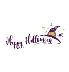 happy halloween hand drawn banner vector image