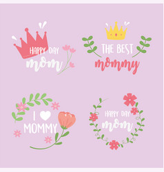 happy mothers day inscriptions card flowers crown vector image