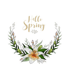 hello spring postcard half wreath with lily vector image
