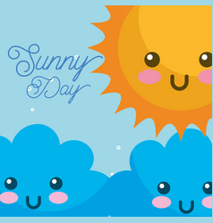 kawaii sunny day clouds weather vector image
