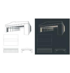 Large industrial hangar blueprints vector