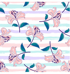 lilies flowers seamless pattern blooming pink vector image
